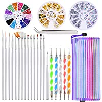 24 Pieces Nail Art Design Set, 5 Pieces 2 Way Dotting Pen, 15 Painting Polish Brush Set, Nail Art Tweezers, 3 Boxes Colorful Nail Rhinestones Decoration Gold Silver Studs with Storage Bag