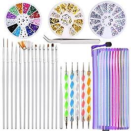 24 Pezzi Nail Art Design Set, 5 Pezzi a 2 Modo Penne di Penna di Punteggiatura, 15 Pennello Smalto di Pittura Set, Nail…