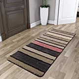 Lifewit Multicolor Stripe Long Area Runner Rug 23.62x70.86inch (2x6 feet) Vintage Saxony Woven Hallway Runners