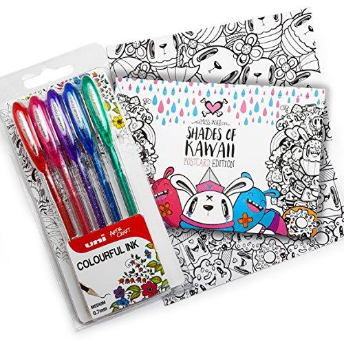 """Preisvergleich Produktbild Exklusiven """"Shades of kawaii Postkarte Malbuch von Miss Wah-mit Uni-Ball Signo-um-120sp-Brieftasche-von 5Sparkling glitzer-Stifte"""