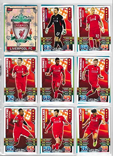 Match Attax 2015 2016 Liverpool Full Base Team  Club Badge and Star Player 18 Cards
