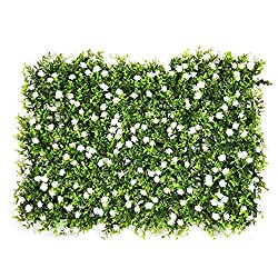 SNIIA Artificial Hedge with Flowers Faux Greenery Privacy Screens Green Hedge Backdrop Plastic Garden Fake Fence Mat Panel Trellis Wall Decoration,60 x 40cm
