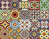 Mi Alma - Conjunto de 24 piezas de pegatinas de azulejos tradicionales estilo Talavera para el baño y la cocina. Pegatinas fáciles de aplicar para dec