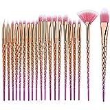 NEEDOON 20 Stück Make Up Pinselet Kosmetik Foundation Eyeliner Lidschatten Augenbrauen Augen Brushes Kit mit Tasche