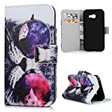 KASOS Galaxy A3 2017 Case, Cool Cat Colour Matching Flip Wallet Leather Case Printed Pattern Cover Cash and Card Slots Pouch Magnetic Closure Secure Lock and Stand Feature TPU Bumper Shell Cradle