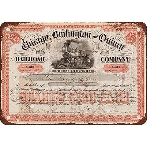 1887CB & Q Stock Certificado aspecto Vintage reproducción Metal Tin Sign 12x 16pulgadas