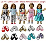 "ZITA ELEMENT® Vestiti Bambole - Lot 7=5 Moda Abiti Gonna Vestito + 2 Paia di Scarpe Per 18"" Bambole American Girl,Madame Alexander, Our Generation Dolls Clothes"