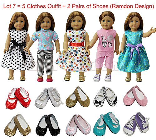 ZITA ELEMENT Puppe Kleidung-Lot 7 = 5 Tägliche Kostüme Kleider Outfit+ 2 Schuhe fit für American Girl Doll 45-46 cm Götz Götzpuppe und andere 18 Zoll XMAS GIFT-Zufälliger (Girl Abenteuer Kostüm)