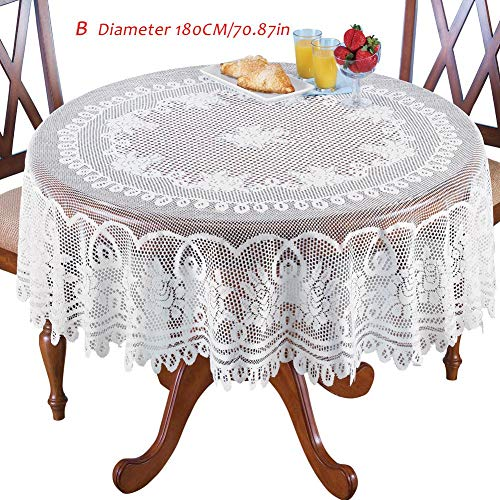 Nappes en dentelle tricotées chaîne, nappe ronde rose blanche couverture table occidentale Western nappe rectangulaire Home & Living Decor-59.84 * 89.76in