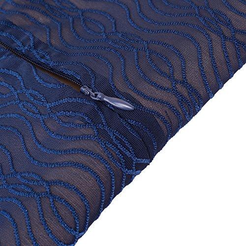 HOMEYEE Elegante quadratische Hals Halbe Ärmel Bleistift Kleid tragen Cocktail B408 Dunkelblau