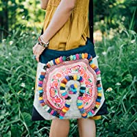 751e2ac1cc Changnoi Fair Trade Pom Pom Crossbody Bag Large Size with Vintage Hmong  Hill Tribe Embroidered