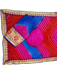 Jaipuri Rajasthani Suit Art Silk Bandhej Gota Patti Bandhini Dupatta Top & Bottom Multi Coloured