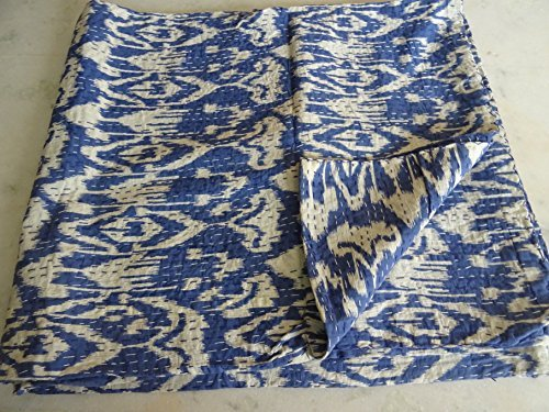 Tribal-Asian-Textiles-IKAT-Print-King-Size-Kantha-Quilt-Kantha-Blanket-Bed-Cover-King-Kantha-bedspread-Bohemian-Bedding-Kantha-Size-90-Inch-x-108-Inch-11-by-Tribal-Asian-Textiles