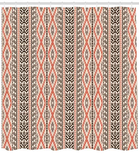 tgyew Southwestern Shower Curtain, Traditional Vertical Borders Inspired by Primitive Art Ikat Style Ancient, Cloth Fabric Bathroom Decor Set with Hooks, 72x72 inches, Brown Coral -