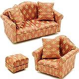 3 tlg. Set: Miniatur Wohnlandschaft / Sofa Couch + Sessel + Hocker mit Kissen - für Puppenstube Maßstab 1:12 - rot weiß golden - gestreift - Puppenhaus Puppenhausmöbel Sessel Wohnzimmer Klein - für Wohnzimmerlandschaft - Puppensofa - Möbel - Miniatur Diorama