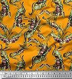 Soimoi Orange Crepe Poly en Tissu Feuilles & Texture Tissu Imprime 1 Metre 42 Pouce Large