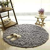 Teppich, CAMAL Runde Seide Wolle Material Yoga Teppich für Wohnzimmer Schlafzimmer und Bad (80cm, Grau)