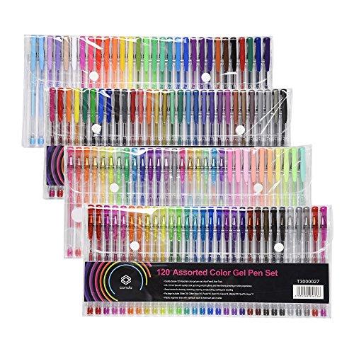 120 Einzigartige Farbe Gel Pen Set Conda für Malbücher Art ungiftig Set no-duplicate Craft Glitzer-Stifte Metallic Neon Pastel & Classic Shades Erwachsene Kinder Geschenk (EINWEG) -