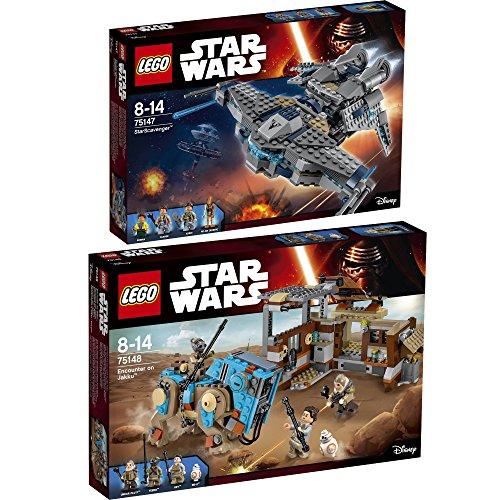 Lego Star Wars Set en 2 parties 75147 75148 Le Chasseur D'étoiles + Rencontre Sur Jakku