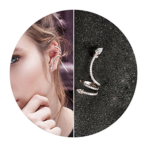 AMDXD Ohrklemme Versilbert Damen Ohrringe Schlange Form Zirkonia Silber Piercing Ring Helix (1 PCS)