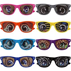 Ava & Kings 8 st. Gemischte Farben Cartoon Eye Aufkleber Kinder-Party Sonnenbrille - 8 st. Kleiner Kinder, Small