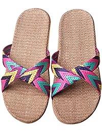 Eizur Ciabatte Antiscivolo Punta Aperta Pantofole Lino Sandali Scarpe  Piatte Scarpe da spiaggia Ciabatte da Piscina d1352b684c8