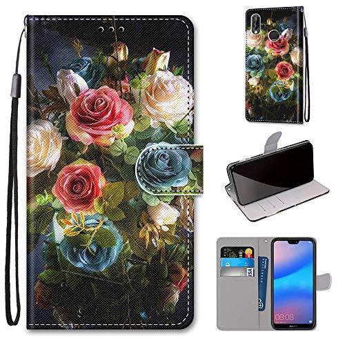 Miagon Flip PU Leder Schutzhülle für Huawei P20 Lite,Bunt Muster Hülle Brieftasche Case Cover Ständer mit Kartenfächer Trageschlaufe,Blühen Blume