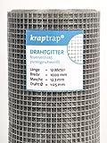 kraptrap® Volierendraht Drahtgitter 4-eck Geflecht Schweißgitter Masche 12x12mm, 1 x 12m Käfigzaun