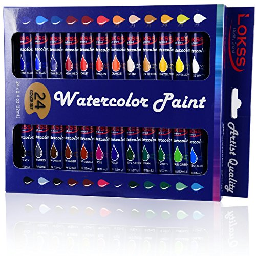 LOKSS® Watercolour Paint Set -24 Colours-Non-Toxic Watercolour Paints 12ml - Premium Professional - Excellent Coverage- Lasting Quality and Vivid Colours- for Beginners, Students Or Artists