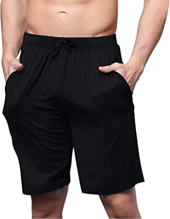 YAOMEI Men's Pyjamas Bottoms Shorts Cotton, Nightwear Underwear Boxer Casual Trunks Trousers Pants with Adjustable Elastic Waistband & Pockets for Sleeping Leisure Time