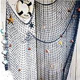 Rete da pesca nautica Lovetree con conchiglie stile mediterraneo per decorare casa, blu, 2x 1,5metri
