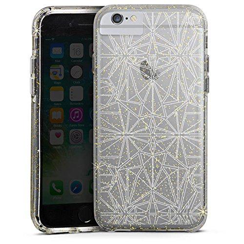 Apple iPhone 6 Bumper Hülle Bumper Case Glitzer Hülle Transparent mit Muster Kaleidoskop Mandala Bumper Case Glitzer gold