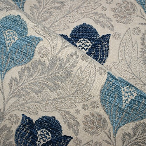 Berkeley Sofa (Berkeley 'Atlantic Floral': blau und Beige Flachgewebe Polster Sofa Kissen aus flammhemmendem Material Loome Textilien, Berkeley 'Atlantic Floral' : Blue And Beige, per metre)
