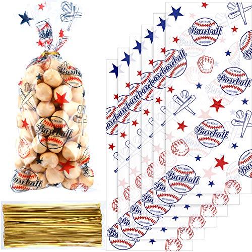 Chuangdi 100 Packungen Baseball Party Cello Taschen Cellophantasche für Geburtstagsfeierartikel Gefälligkeiten Party Lieferungen Taschen Goody Favor Taschen -