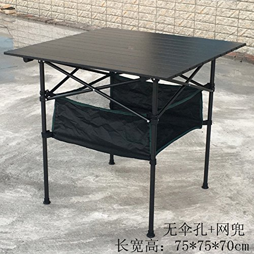 Xing Lin Klapp Tisch Outdoor Klapptisch Portable Ultra Light Table Aluminium Einfache Freizeitaktivitäten Tisch Grill Camping Picknick Tisch Und Stühle, Marmoriert Schwarz 75*75*70, Ohne Bohrung + String Pocket Abschaltdruck