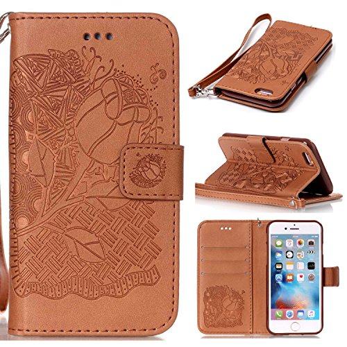 iphone 6 Plus / 6S Plus Hülle, iphone 6 Plus / 6S Plus Case, Cozy hut Iphone 6 Plus / 6S Plus (5,5 Zoll) Drucken(Reiche Blumen)PU Ledercase Tasche Hüllen Schutzhülle Scratch Magnetverschluss Telefon-Kasten Handyhülle Standfunktion Handycover Solide Rose - Rose Brown