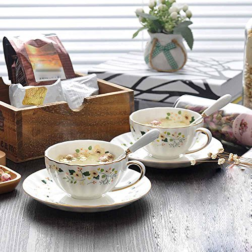 SSBY Café porcelaine tasses et soucoupes, thé rouge, thé tasse soucoupe, cadeaux de mariage, de style anglais jardin floral