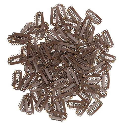 IPOTCH 100 Stück Haarspange Tressenclips für Haarverlängerung Haarklammer - Hellbraun