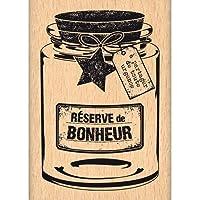 "Florilèges Design FE214069 - Timbro per scrapbooking, fantasia: ""Réserve de Bonheur"" (conserva di felicità), 7 x 5 x 2,5 cm, colore: beige"