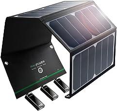 RAVPower 24W Solarladegerät mit 3 USB iSmart-Port (21,5-23,5% Umwandlungseffizienz, leicht, faltbar, wasserdicht) für Camping Wanderung Bergsteigerei für iPhone 6S, 6S Plus, 6, iPad Pro, Samsung Galaxy S7, S7 Edge, HTC, Motorola usw.