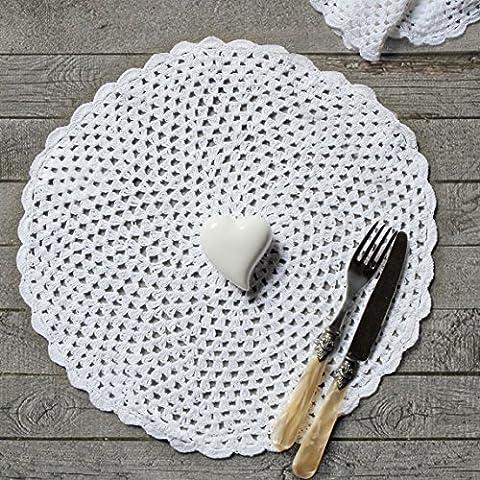 Tovaglietta americana tonda Shabby Chic Crochet Collection Blanc Mariclo Colore Bianco
