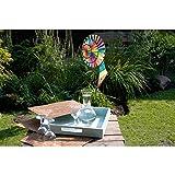 HQ Windspiration 100885 - Magic Wheel Triple Rainbow, UV-beständiges und wetterfestes Windspiel - Höhe: 96 cm, Tiefe: 47 cm, Rad-Ø: 40 cm, inkl. Standstab und Bodenanker