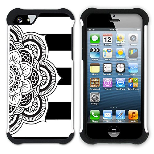 Graphic4You Mandala Blume Linien Muster (Wasserblau) Hart + Weiche Kratzfeste Hülle Case Schale Tasche Schutzhülle für Apple iPhone SE / 5 / 5S Schwarz