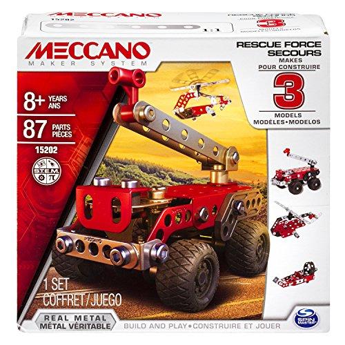 Meccano 6026714 - Rescue Force Confezione per Costruire 3 Modelli, a Tema Veicoli di Salvataggio, Pezzi in Metallo