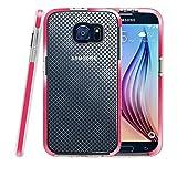 Galaxy S6 Hülle, Fintie [Schlankes Schild Serie] Samsung Galaxy S6 [Ultradünne] Premium Hybrid stoßfeste Schutzhülle Etui Case mit kariertem Muster Rückseite Schale, Magenta