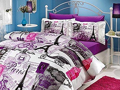 100% Türkische Baumwolle Tröster Set 5pcs. Paris Eiffelturm Vintage Violett Thema Mottoparty Full/Queen Size Betten Bettwäsche -