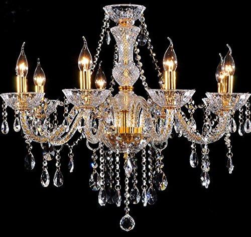 Gowe 8Arme Gold Kristall Kronleuchter Lampe Modern Classic Kristall Kronleuchter Beleuchtung für Wohnzimmer Schlafzimmer (Kronleuchter 8 Licht Gold)