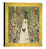 Gerahmtes Bild von Gustav Klimt Gartenweg mit Hühnern, Kunstdruck im hochwertigen handgefertigten Bilder-Rahmen, 30x30 cm, Gold raya