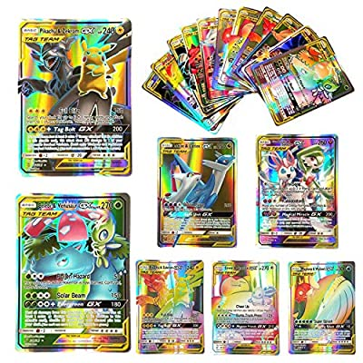Yueyue 100 Pcs Pokemon GX Flash Cartes Style TCG Holo Puzzle Jeu De Cartes Amusant, Cartes Pokémon Paquets Unbroken Bonds TAG Team, Jeu de Cartes à Collectionner, 2019 Nouveau