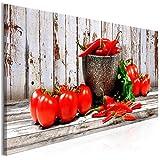 decomonkey | Bilder Küche Gemüse 120x40 cm | 1 Teilig | Leinwandbilder | Bilder | Vlies Leinwand | Bilder | Wand | Bild auf Leinwand | Wandbild | Kunstdruck | Wanddeko | Paprika Tomate rot Holz Brett grau | DKC0216b1PS
